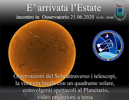 E' arrivata l'Estate 21 giugno 2020 – incontro in Osservatorio