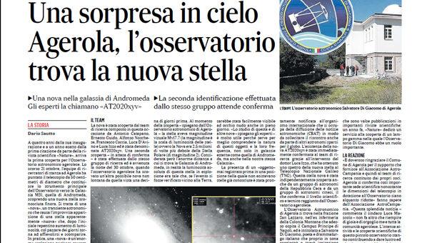 Le scoperte delle stelle Novae pubblicate sulla stampa
